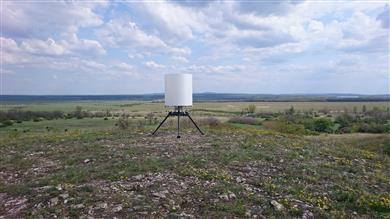 The Pro Patria PGSR-3iFT Beagle, a tower-mounted ground surveillance radar manufactured by Airborne International featuring DSM Dyneema® Crystal Technology. 