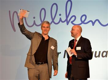 Antoni Puig Accepting the EUROPUR Innovation Award on Behalf of Milliken at the 50th Anniversary Celebration of EUROPUR in Brussels, Belgium.