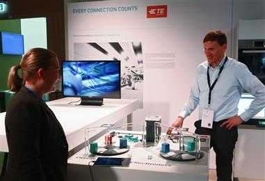 Dr. Michael Hilgner at TE Connectivity's booth in the Reinvention Laboratory.