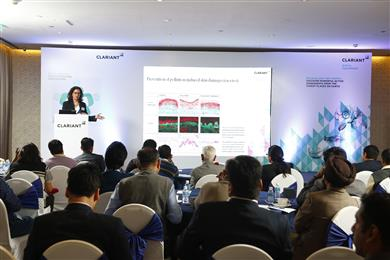 Christelle Graizeau, Business Development Manager, Active Ingredients Segment, BU Industrial & Consumer Specialties presented a paper on 'Let's get active naturally...our green actives'. (Photo: Clariant)