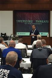 "Marcio Manique, global business director, Life Protection, DSM Dyneema addressing approximately 40 local first responders at the ""Emerging Threats for First Responders"" event at the DSM Dyneema manufacturing facility in Greenville, N.C.