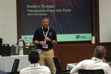"Guest speaker Greg Chapman, director of prehospital medicine for Carolinas Medical Center in Charlotte addressing approximately 40 local first responders at the ""Emerging Threats for First Responders"" event at the DSM Dyneema manufacturing facility in Greenville, N.C.