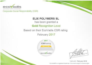 ELIX Polymers CSR Rating 2017, EcoVadis. 