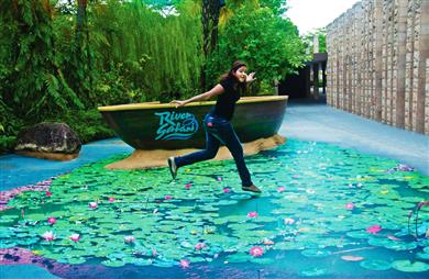 "Busads Pet Ltd (Singapore) won the 2017 'outdoor decoration' award category, for ""River Safari - 3D pond"", an arresting 3D-effect floor sticker printed and installed onto the floor of River Safari Singapore.