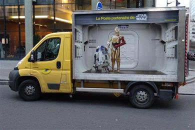 "DecoAder (France) won 'vehicles' for ""Campagne La Poste/Star Wars"", using ingenious images of Star Wars characters appearing to be inside vans and post boxes.