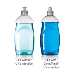 Bottles exposed to 45 accelerated UV hours. 
