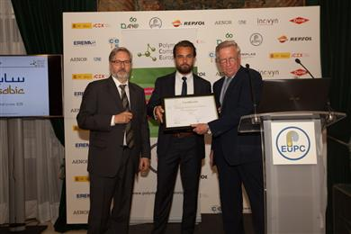 Sjoerd Zuidema, Director of Polypropylene Business Europe and Jose Chas, Sales Manager of PP from SABIC receiving the award from Ron Marsh, Chairman of the Polymers for Europe Alliance.