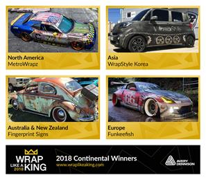 The 4 continental finalists in the competition - chosen from regional finalists - were MetroWrapz (North America), Funkeefish (Europe), WrapStyle Korea (Asia) and Fingerprint Signs (Australia & New Zealand). 