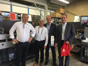 From left to right: Laurent Owezareck Avery Dennison, Sandro Gardoch from SMAG Graphique, Rateau Stephane from SMAG Graphique, Jordi Baeta Avery Dennison.