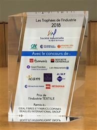 Idéal Fibres & Fabrics Comines (IFFC) reçoit le prix de l'industrie textile. (Photo: © Beaulieu International Group)