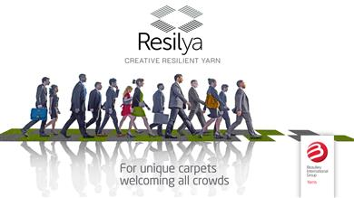 Resilya new durable, resilient and creative yarn family for a longer life cycle for contract carpet constructions (Class 33). 
