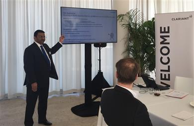 "Deepak Parikh, Clariant's Head of Region North America, presenting at ""The World of Clariant Catalysts"" in New York. (Photo: Clariant)"