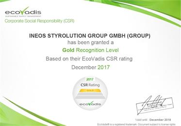 INEOS Styrolution awarded Gold rating by EcoVadis for its sustainability achievements.
