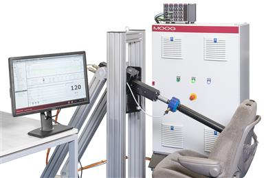 New Moog Electric Multi-Axis Test System shown here in a seat back fatigue application solution. (Photo Moog, MGPR1707)