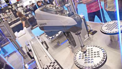 Flexible production line demonstration features OMRON's new i4 SCARA robot. 