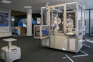 The Innovation Labs demonstrates a range of innovative technologies including fixed and mobile robotics systems. (Photo: Omron, PR066)