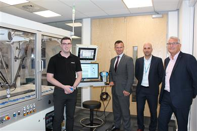 From left to right: Omron's Field Application Engineer, George Brown, Milton Keynes North MP, Mark Lancaster, Omron's Regional Marketing Manager, Dan Rossek and Mark Butters, UK General Manager, Omron. (Photo: Omron, PR068)