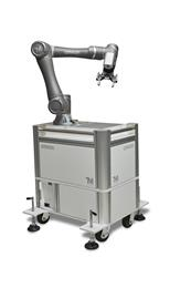 Collaborate robot placed on mobile work station. (Photo: Omron, PR070)