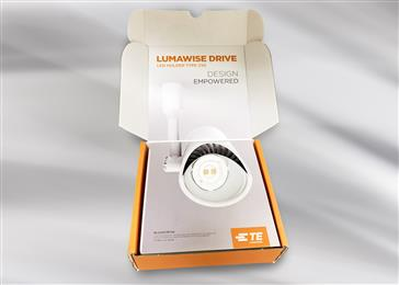 Luminaire designers can now test and evaluate the LUMAWISE Drive LED Holder Type Z50 with development kit from TE Connectivity. (Source: TE Connectivity, PR241)