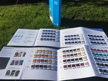 Archroma's Denim Book which includes 200 yarn swatches. 