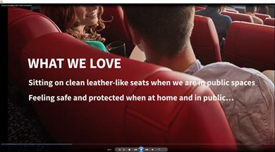 Screen capture of Archroma's video on Archroma's Safe Seats system based on the new Lurapret® N5396 & N5392 liq, a water-based ultra-low VOC polyurethane (PU) polymer coating technology. (Photo: Archroma)