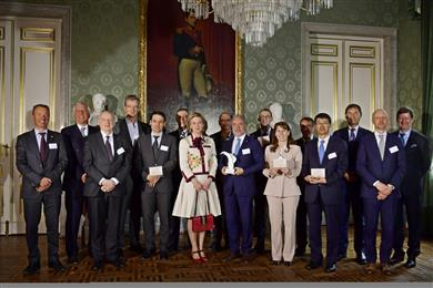 The finalists of the essenscia Innovation Award in the presence of HRH Princess Astrid of Belgium. (Photo: © Beaulieu International Group)