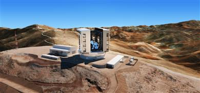 The latest design of the enclosure, telescope and site at Las Campanas Observatory in Chile. 智利拉斯坎帕纳斯天文台(Las Campanas Observatory)外观、望远镜及整个区域的最新设计。