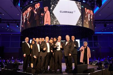 A delegation of Clariant employees, accompanied by Board of Directors member Carlo G. Soave, accepted the World Procurement Award 2019 in front of some 1100 guests at the award ceremony in London. 