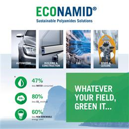 DOMO ECONAMID®, a family of PA6 & PA66 compounds based on sustainable post-industrial feedstock derived either from film manufacturing or from fiber and yarn manufacturing.