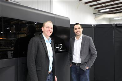 Left to Right: Jake Brunsberg, Binder Jet modality leader, GE Additive and Josh Mook, innovation leader, GE Additive. 