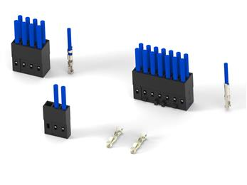 TE Connectivity's AMPMODU 2 mm wire-to-board crimp receptacles and shrouded headers free up space on printed circuit boards.